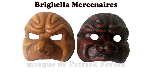 Masks of Brighella, in a Matamore version, seen from the front