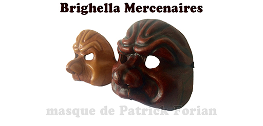 Masks of Brighella, in a Matamore version, seen from profile