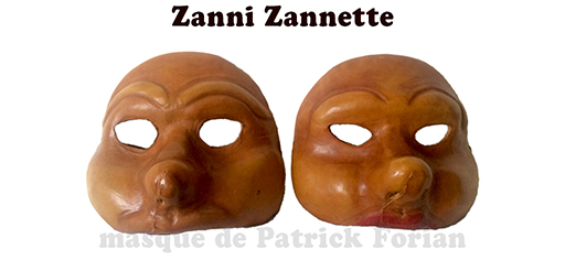 masks of Zanni and 'Zannette'  - male and female characters of the commedia dell'arte - made by Patrick Forian, seen from the front