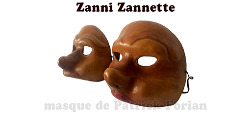 masks of Zanni and 'Zannette'  - male and female characters of the commedia dell'arte - made by Patrick Forian, seen from profile