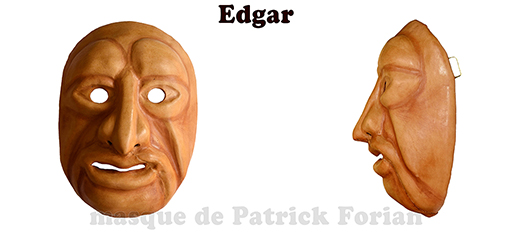 Edgar : Full face mask, in leather, made by Patrick Forian