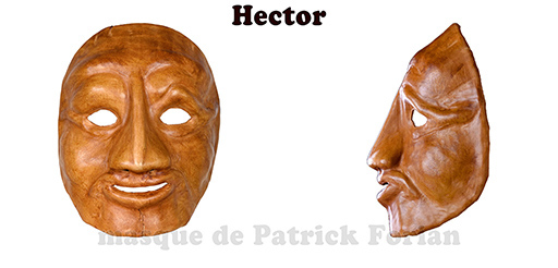 Hector : Full face mask, in leather, made by Patrick Forian