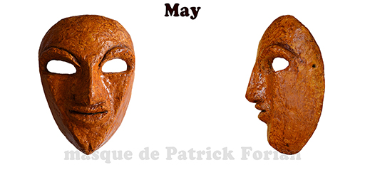 May : Full face mask, in paper mache, made by Patrick Forian