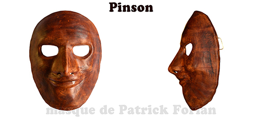 Pinson : Full face mask, in leather, made by Patrick Forian