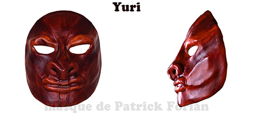 Yuri : Full face mask, in leather, made by Patrick Forian