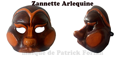 mask of Zanni 'Arlequine' Harlequin' female mask