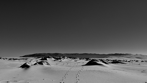 Desert, footprints in the sand, black and white photo © Patrick Forian