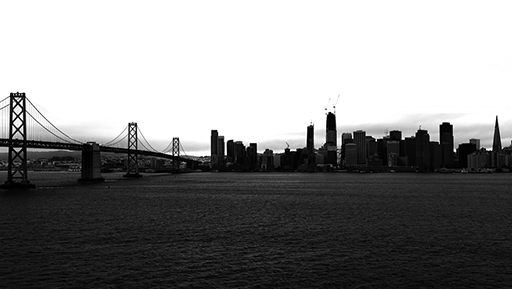 A view of San Francisco from Treasure Island, black and white photo © Patrick Forian