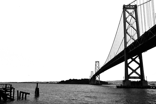 A view of Bay Bridge, San Francisco, black and white photo © Patrick Forian