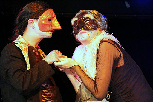 Citronnelle et Vieilles Querelles - Lemongrass and Old Quarrels, contemporary commedia dell arte show directed by Patrick Forian - le Proscenium Theater, Paris. Scene with Leandrovitch and Mme Brigante.