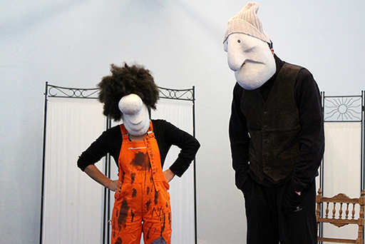 Larval masks duo, during a masks and commedia dell'arte workshop, directed by Patrick Forian.